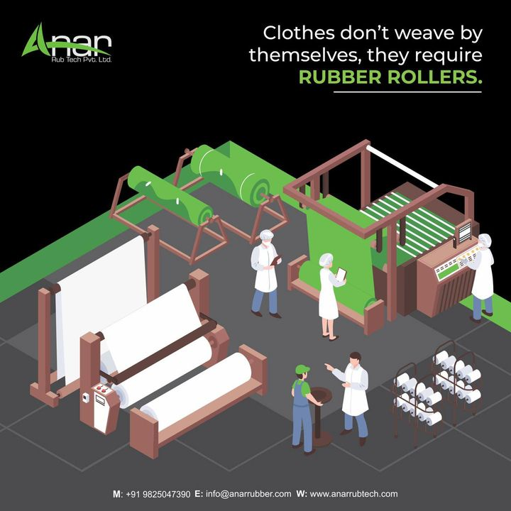 The textile industry has great & tremendous use of our rollers.   To know more about us, visit our website anarrubtech.com or give us a call at +91-9825047390  #rubberroller #textileindustry #businessequipments #rubberrollers #manufacturing #textileindustry #textilemills #textilemanufacturing #industrialrollers #webequipments #sizzingmachine #processingmachine #guideroller #eboniteroller #pressurerubberroller #tuberoller #ssroller #sscladdedroller