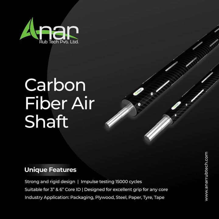 The limelight of business equipments: Carbon Fiber Air Shaft at Anar Rubtech, call us at 9825047390 or visit anarrubtech.com   Application  -Winding and unwinding -Rotogravure printing machine -Lamination machine  -Slitting machine -Blown film plant -BOPP film plant -Pouch making process  #IndustrialRollers #rubberrollers #industrialrubberrollers #newproduct #rubberroller #manufacturer #businessequipments #carbonfiberroller #carbonfiberairshaft #carbonfiber #anarrubtechpvtltd #anarrubber