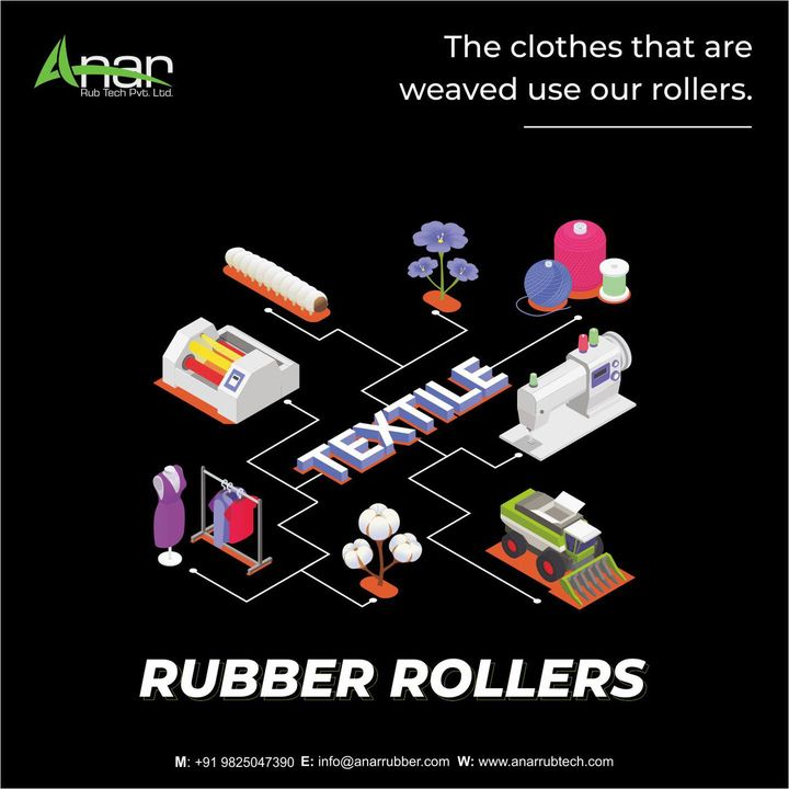 The right kind of rollers for Textile Industry!  Visit us at anarrubtech.com or contact +91 9825047390  #rubberroller #textileindustry #businessequipments #rubberrollers #manufacturing #textileindustry #textilemills #textilemanufacturing #industrialrollers #webequipments #sizzingmachine #processingmachine #guideroller #eboniteroller #pressurerubberroller #tuberoller #ssroller #sscladdedroller