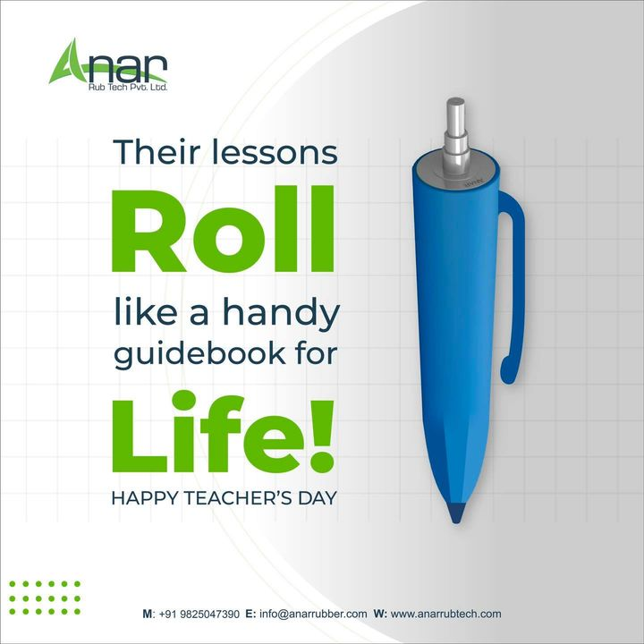 Who needs a life manual when you have teachers around? No matter how tough or challenging times are, teachers are here with a roll filled with answers to all our problems.  Anar wishes Happy Teacher's Day to our talented problem solvers!   #happyteachersday #teacher #teachersday #happyteachersday2021 #teachersday2021 #topicalpost #topicalspot #trending #rubberroller #paperindustry #packagingindustry #plasticindustry #textileindustry #businessequipments #rubberrollers #wallpaper #plasticpackaging #extrusionmachine #textileindustry #manufacturingindustry #anarrubtech #anarrubber