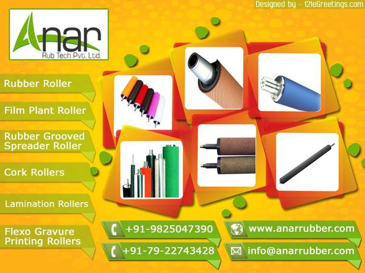 We are offering Industrial Rubber Roller. Our Industrial Rollers are widely recommended for their effective usage in various industries that is on a very large scale.    Rubber Roller    Rubber rollers are basic and primary accessory of the process of every machines. Even surface appropriate material of coating according to the application, uniform hardness over the surface along with precision workmanship play vital roll in performance of the roller. Selection of roller type and coating of the materials depends upon the application and 'ANAR' manufactures wide range of Rubber rollers for various applications.  #AnarRubTech #LeafTypeAirExpandingShaft #RubberRoller #RubberExpander #SafetyChuck #AirExpandingShaft #PURoller #AirShafts  #121eGreetings