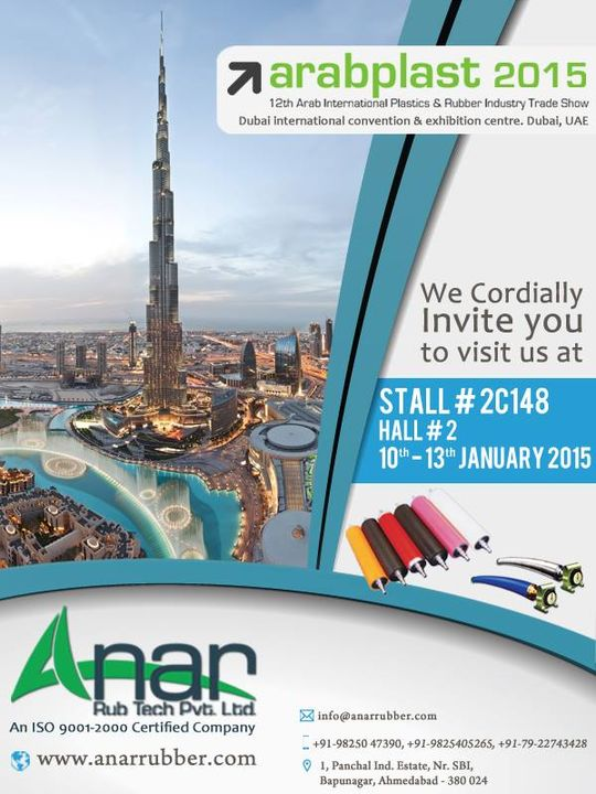 We cordially invite you to visit us at Stall # 2C148 Hall # 2  10th - 13th January 2015  #arabplast2015 #AnarRubTech #LeafTypeAirExpandingShaft #RubberRoller #RubberExpander #SafetyChuck #AirExpandingShaft #PURoller #AirShafts