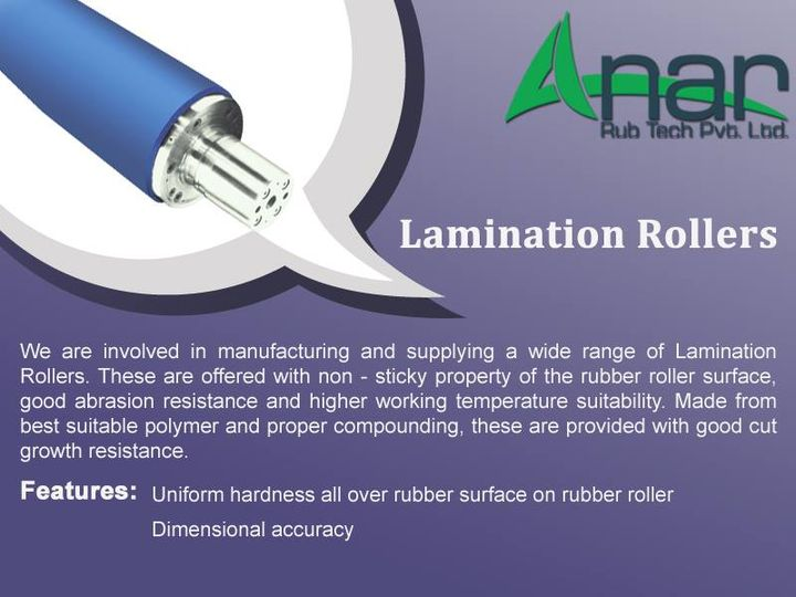Lamination Rollers:   We are involved in manufacturing and supplying a wide range of Lamination Rollers. These are offered with non - sticky property of the rubber roller surface, good abrasion resistance and higher working temperature suitability. Made from best suitable polymer and proper compounding, these are provided with good cut growth resistance  Features: Uniform hardness all over rubber surface on rubber roller Dimensional accuracy  http://anarrubber.com/industrial-rubber-roller.html #TransportRoller #RubberRoller #CorkRollers #GuideRoller #AnanrRubTechPvtLtd