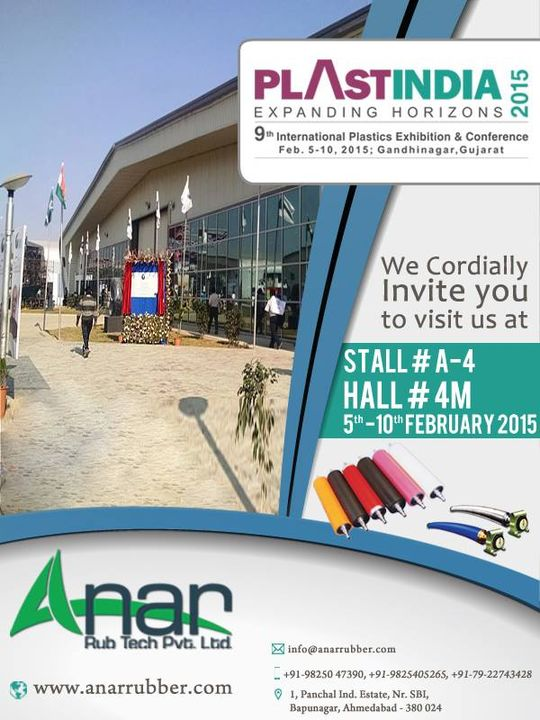 PLAST INDIA 2015:  We Cordially Invite You To Visit Us At  Stall # A - 4   Hall # 4M  5th - 10th FEBRUARY 2015  #AnarRubTech #LeafTypeAirExpandingShaft #RubberRoller #RubberExpander #SafetyChuck #AirExpandingShaft #PURoller #AirShafts