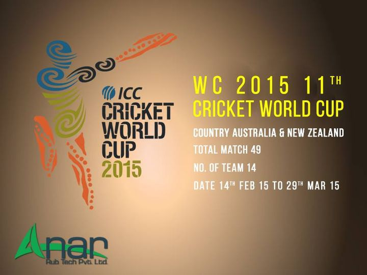 WC 2015 11TH CRICKET WORLD CUP Country Australia & New Zealand  Total Match 49 No. Of Team 14 Date 14th Feb 2015 to 29th Mar 2015  #AnarRubTech #LeafTypeAirExpandingShaft #RubberRoller #RubberExpander #SafetyChuck #AirExpandingShaft #PURoller #AirShafts #CWC2015 #Schedule #icccricketworldcup2015