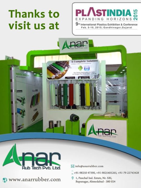 Thanks to visit us at Plast india 2015  #AnarRubTech #LeafTypeAirExpandingShaft #RubberRoller #RubberExpander #SafetyChuck #AirExpandingShaft #PURoller #AirShafts