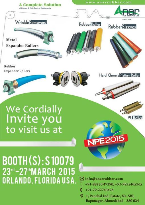 We cordially invite you to visit us at NPE2015  #AnarRubTech #LeafTypeAirExpandingShaft #RubberRoller #RubberExpander #SafetyChuck #AirExpandingShaft #PURoller #AirShafts