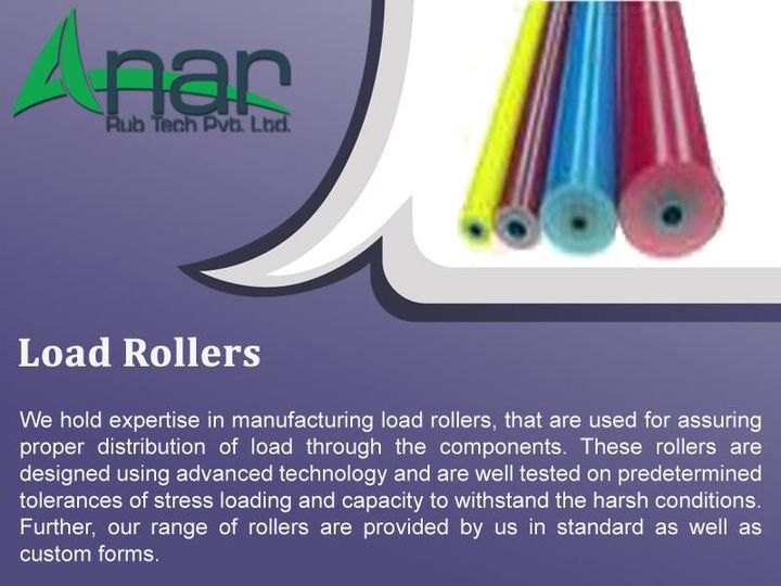 Load Roller:  We are one of the exclusive Qualityer and manufacture of a quality range of Load Rollers to our clients. These are used for proper distribution of load. Our products are fabricated with high grade raw materials with latest technology and new innovations. The rollers are specifically designed by the experts so that these can survive in the harsh conditions and tolerate heavy loading as well.  #AnarRubTech #LeafTypeAirExpandingShaft #RubberRoller #RubberExpander #SafetyChuck #AirExpandingShaft #PURoller #AirShafts #loadroller