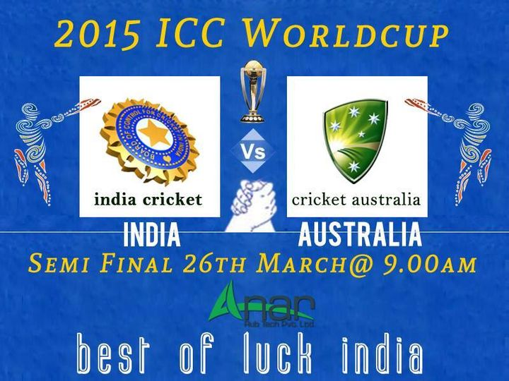 Now count down begins for next cricket excitement between India Vs Australia  #India #ICC #CWC15 #SemiFinals #CheerForIndia #indiavsaustralia #AnarRubTech #LeafTypeAirExpandingShaft #RubberRoller #RubberExpander #SafetyChuck #AirExpandingShaft #PURoller #AirShafts #loadroller