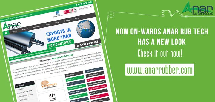 now on - wards anar rub tech has a new look  check it out now!! www.anarrubber.com  #AnarRubTech #LeafTypeAirExpandingShaft #RubberRoller #RubberExpander #SafetyChuck #AirExpandingShaft #PURoller #AirShafts