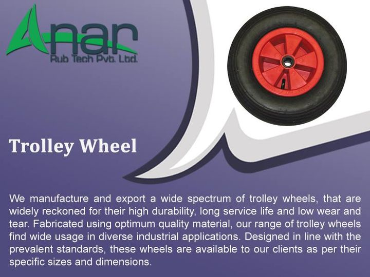 Trolley Wheel:  We manufacture and export a wide spectrum of trolley wheels, that are widely reckoned of their high durability, long services  life and low wear and tear. Fabricated using optimum material, our range of trolley wheels find wide usage in diverse industrial applications. Designed in line with the prevalent standards, these wheels are available to our clients as per their specific size and dimensions.  www.anarrubber.com  #TrolleyWheel #AnarRubTech #LeafTypeAirExpandingShaft #RubberRoller #RubberExpander #SafetyChuck #AirExpandingShaft #PURoller #AirShafts