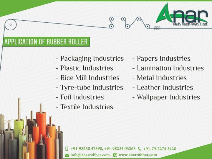 #Applications of #RubberRoller  - #Packaging Industries - #Textile Industries - #Plastic Industries - #Papers Industries - #Rice Mill Industries - #Lamination Industries - #Tyre-tube Industries - #Metal Industries - #Foil Industries - #Leather Industries - #Wallpaper Industries  #AnarRubTech #RubberRollerExporter #ApplicationsOfRubberRoller #RubberRollerManufacturer #IndustrialRubberRoller #Anar