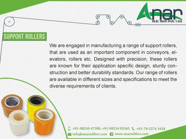 Anar Rub Tech,  Manufacturer, INDIA, SupportRoller, SupportRollers, RubberRoller, AnarRubTech, AnarRubber, Rollers