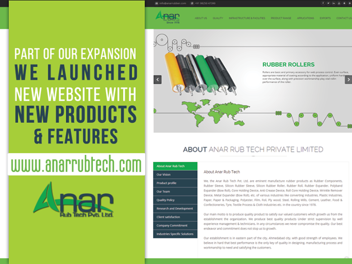 Part of our expansion, we launched new #WEBSITE with new products & features - www.anarrubtech.com  #AnarRubTech #AnarRubber #RubberRollers