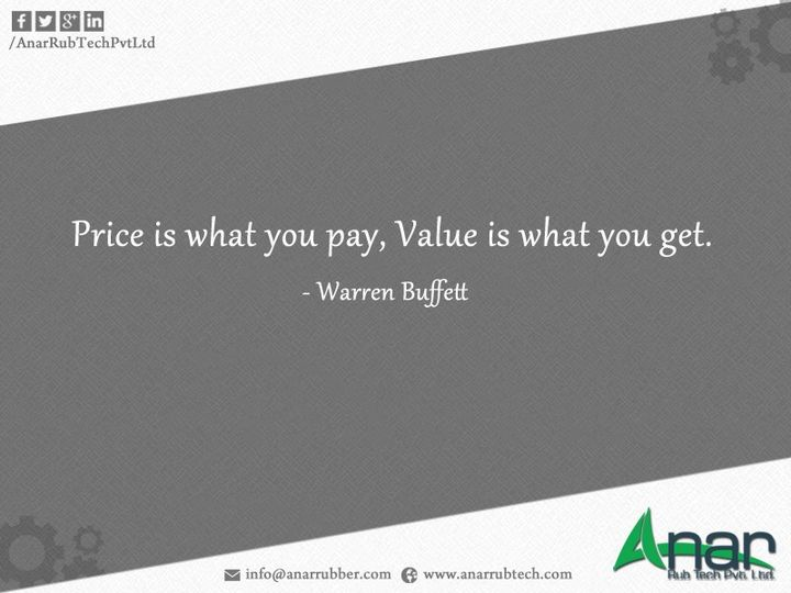 price is what you pay, value is what you get.   #WarrenBuffet #quote #AnarRubTech